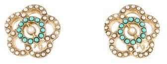 Chanel Faux Pearl & Glass Flower Stud Earrings