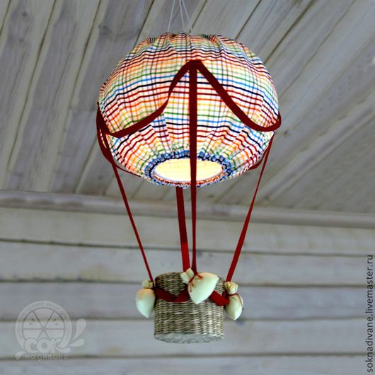 Fabric air balloon  light for hursery / Детская ручной работы. Ярмарка Мастеров - ручная работа. Купить Шар-НОЧНИК в клеточку - D 30 см. Handmade.