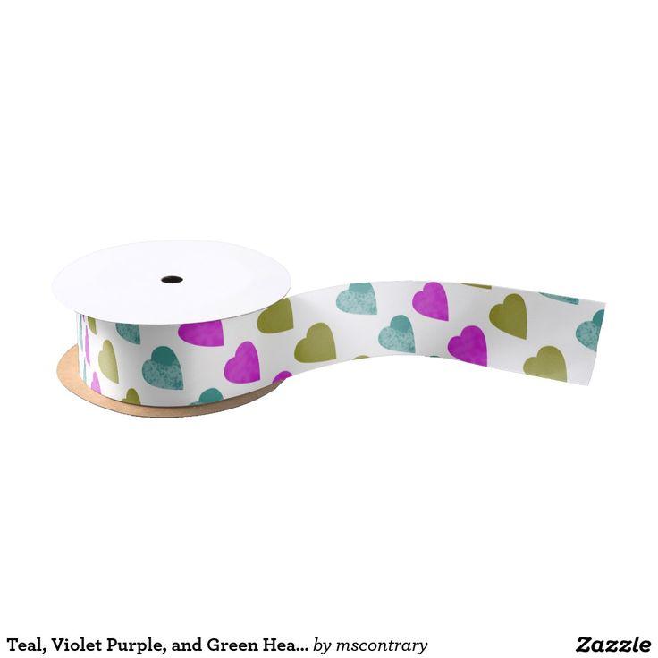 Teal, Violet Purple, and Green Hearts Satin Ribbon