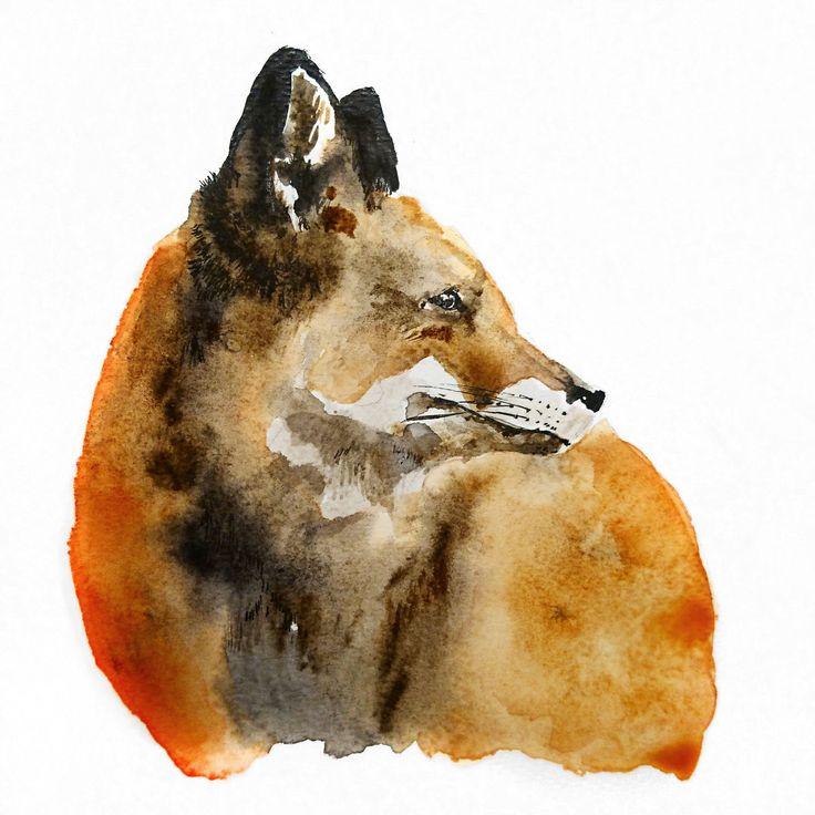 Fox - ORIGINAL // SOLD Illustration by Ariane Relander