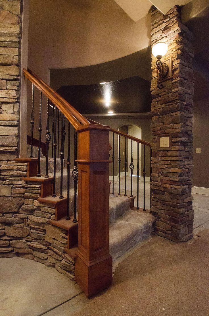 Images Of Basements With Stone Walls | Astonishing Basement Stairs Design  With Stone Veneer Basement Pillar
