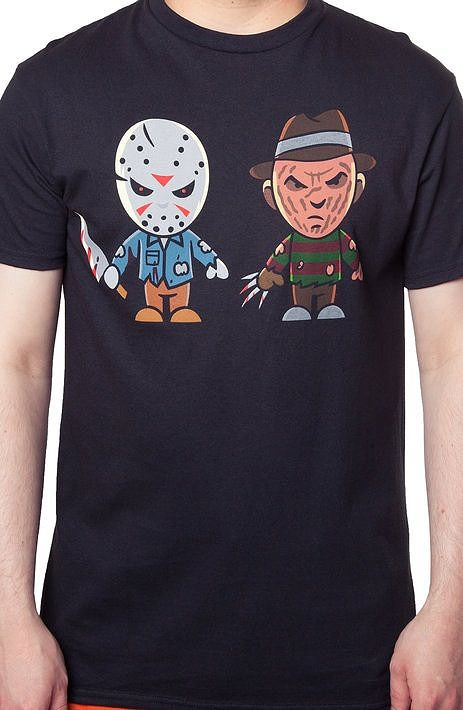Jason Voorhees and Freddy Krueger Cartoon T-Shirt Film history  maniacle celebrities are artfully designed into cartoon characters.  A must have for all Jason and Freddy geeks.