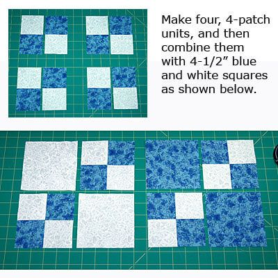 Finish Sewing the Double Four Patch Quilt Blocks