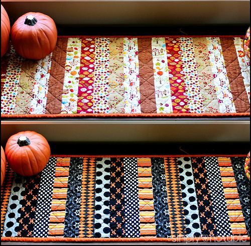 This quilted table runner is reversible so you can use it for several months a year! It is a fat quarter friendly project that can be made in a day. It's an adorable solution to holiday decorating.| SimplyNotable.com
