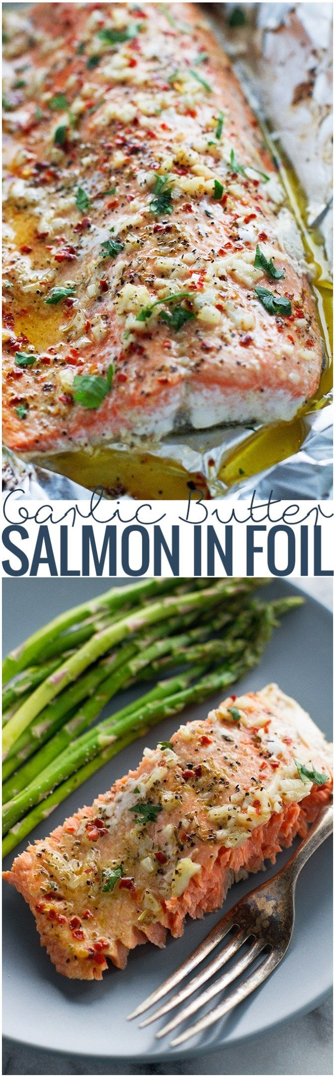 Lemon Garlic Butter Baked Salmon in Foil - This recipe takes less than 30 minutes and is perfect for weeknight dinners! #bakedsalmon #salmoninfoil #30minutemeals #bakedfish | http://Littlespicejar.com