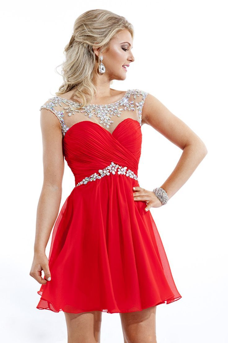 A-line Scoop Neckline Chiffon Short Prom Dress With Crystal
