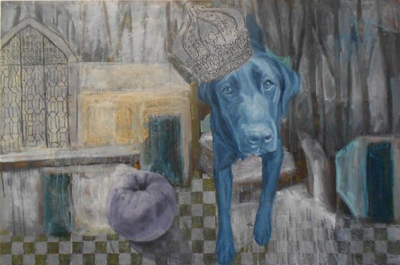 "Roz Cryer, ""Black Dog"", oil on canvas, 80 x 120cm"