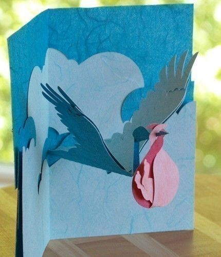 Kirigami Stork and Baby Pop-up Card, Make Yourself | Popup Card Making | $4