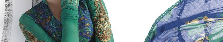 Blue and Green Faux Crepe Churidar Kameez Online Shopping: SLKWY356