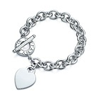 Tiffany & Co.  Heart tag charm toggle bracelet.