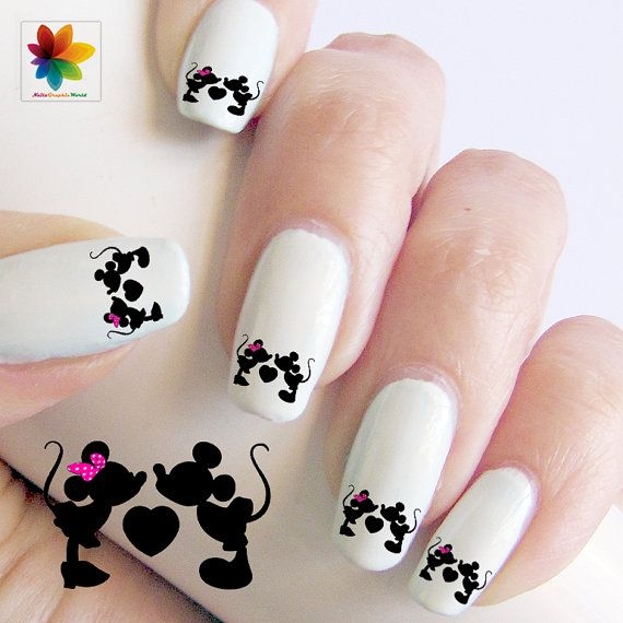 Valentine Day, Minnie in love, Disney nail art, mickey mouse, 60 Waterslide stickers Decal Nail, nails clear background, on Etsy, $5.90