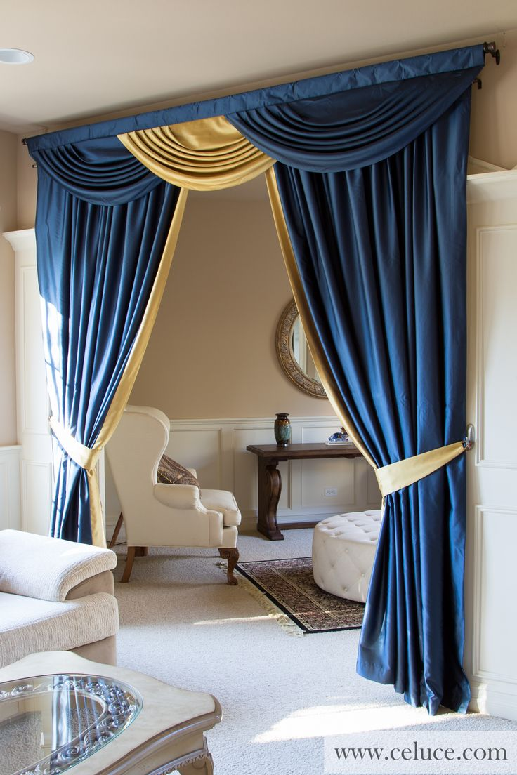 blue and gold classic overlapping swag valance curtains curtains pinterest. Black Bedroom Furniture Sets. Home Design Ideas