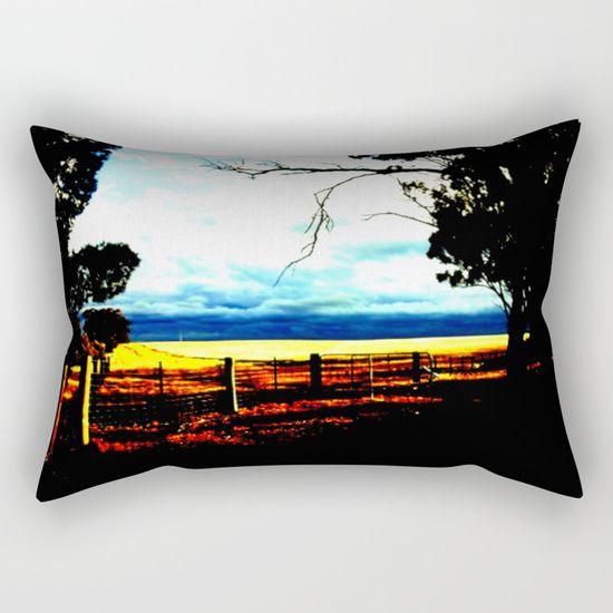 Storm clouds over wheat Fields Rectangular Pillow