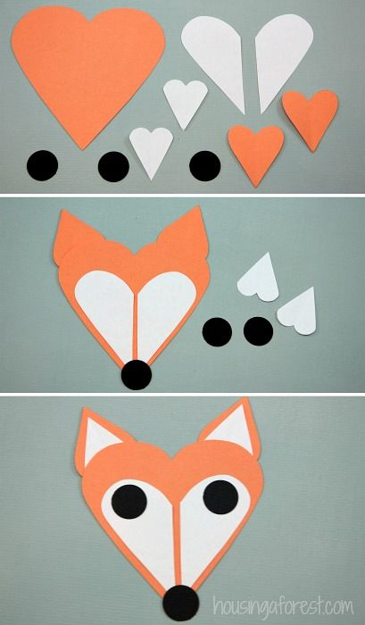 Heart Fox Craft - cute little fox made of heart shapes!