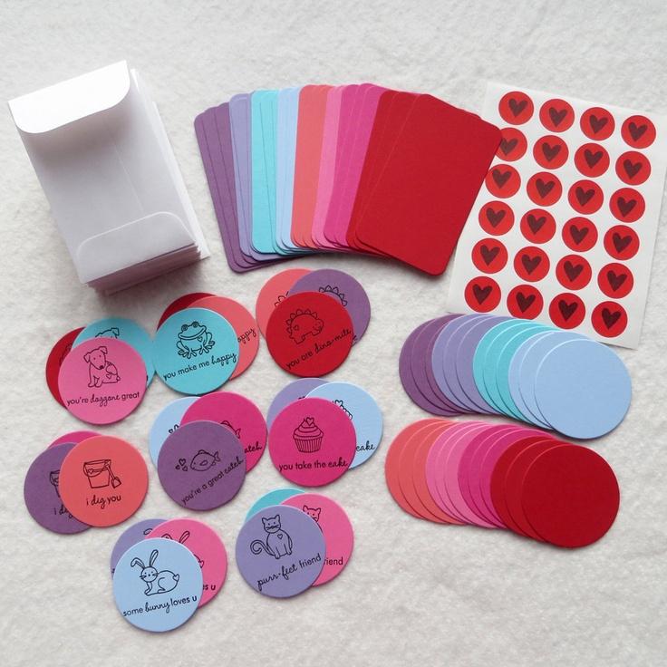 DIY Valentine Card Kit - Makes 24 Mini Cards with Envelopes - Valentine Party Card Kit. $16.75, via Etsy.