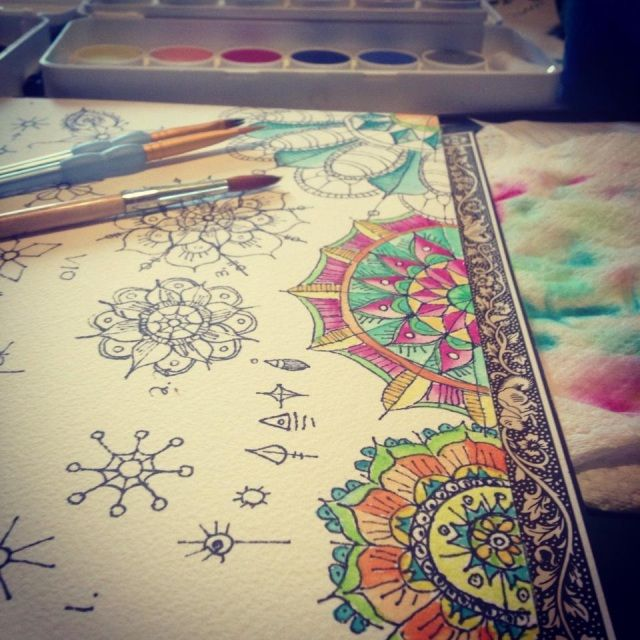 watercolor mandalas or other iconic items