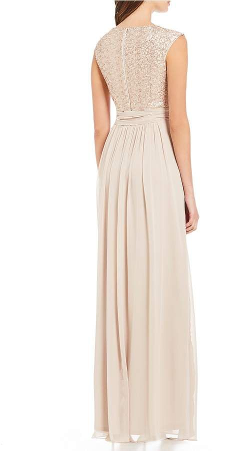 2f425bd97e9 Jessica Howard Blush Pink Surplice Beaded Bodice Tie Waist Gown  Pink  Surplice Blush