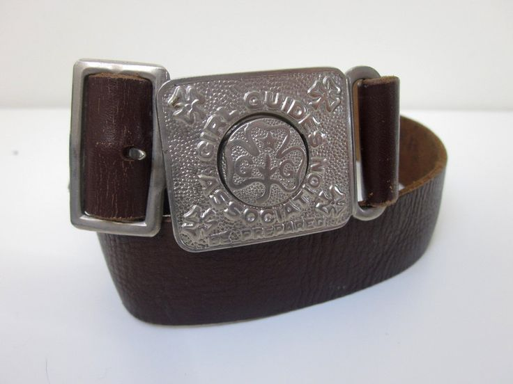 VINTAGE authentic rare 50s/60s genuine brown leather belt with engraved buckle 'girl guide's association + be prepared' by shopblackheart on Etsy