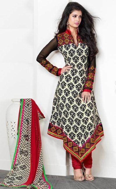 USD 55.72 Cream Resham Work Silk A Line Designer Churidar Salwar Kameez 28058
