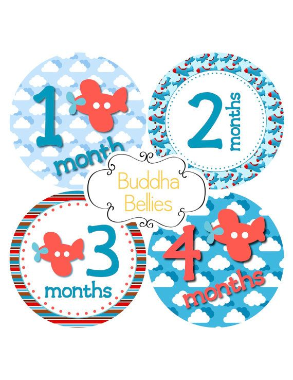 Baby Month Stickers Baby Boy Pilot Airplanes Baby by BuddhaBellies