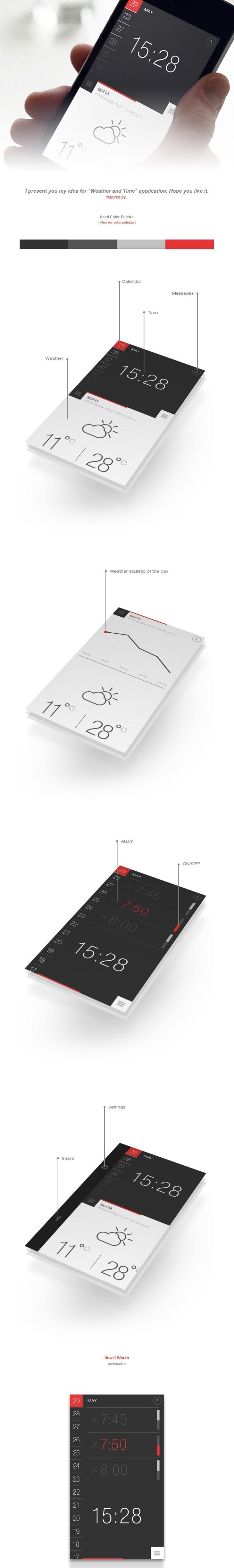 Weather and Time, UX, UI, flat colors, minimalism