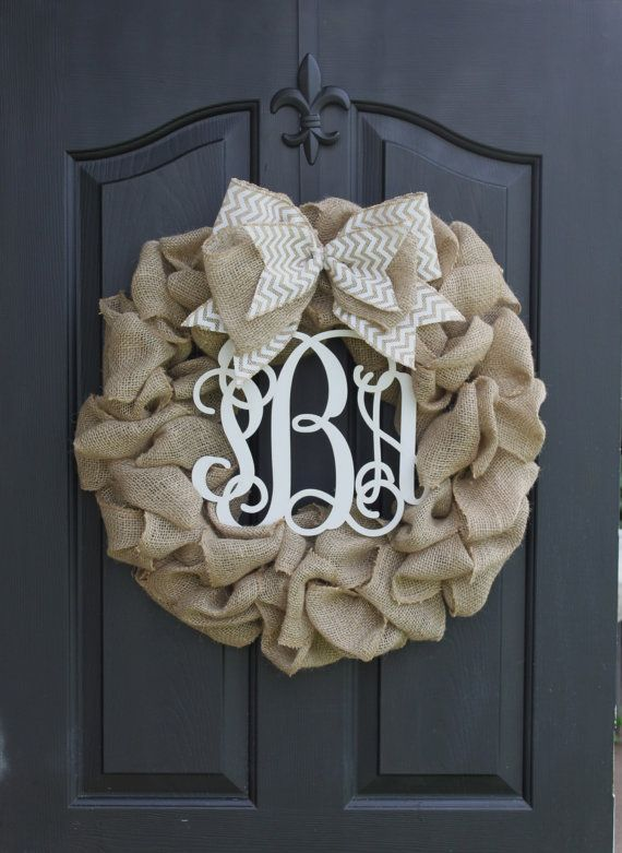 Wreath++monogram+wreath++burlap+wreath++wreath+by+OurSentiments,+$90.00