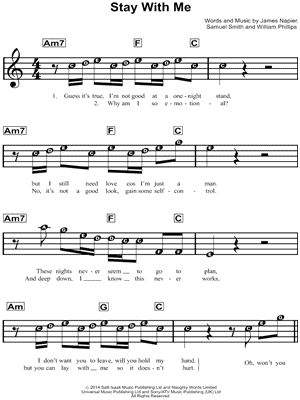"Sam Smith ""Stay With Me"" Sheet Music for Beginners - Download & Print"