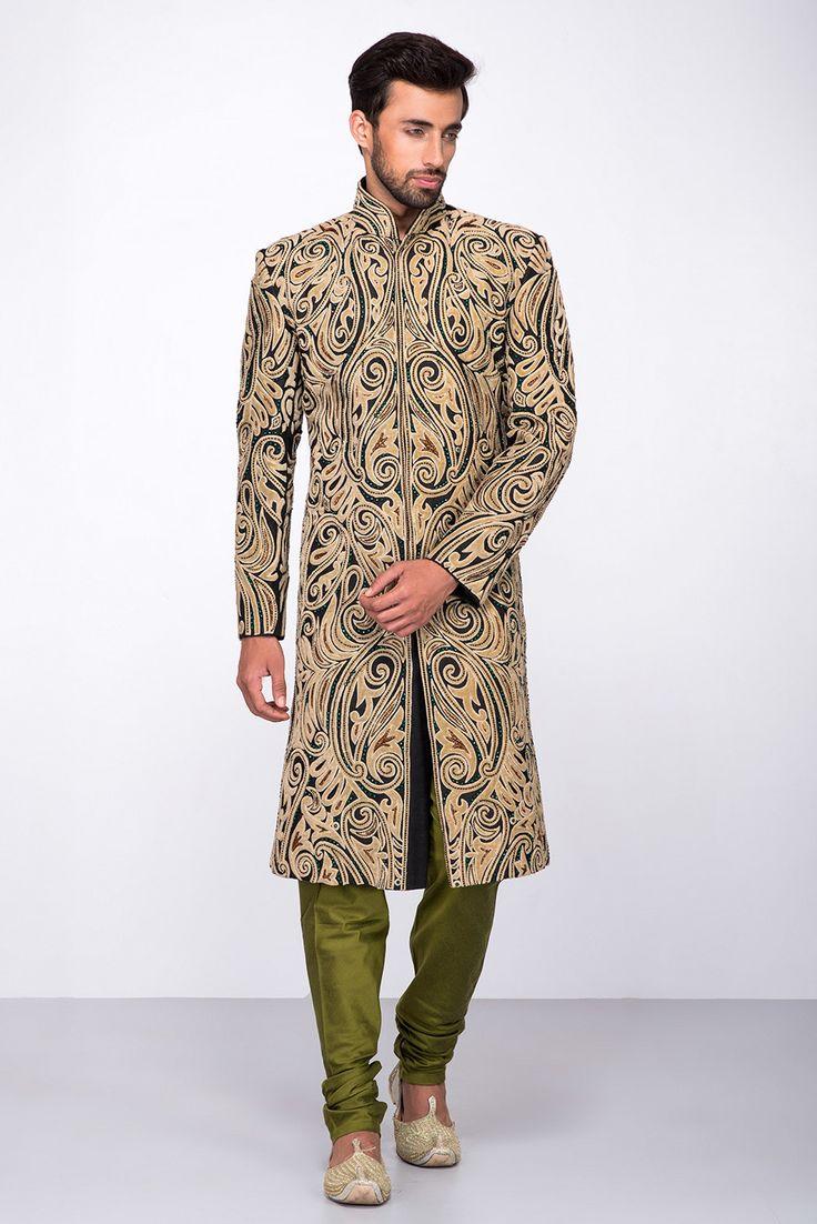 Etole Fashions Black Applique Work Sherwani With Olive Green Chudidar  #flyrobe #groom #groomwear