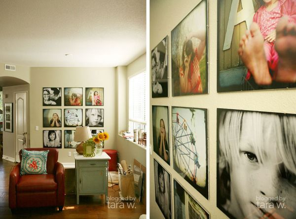 Another interesting idea is to alternate black and white photos with color photos. Print them with the same dimensions and shape and create a symmetrical display on a wall of the living room. A wall adjacent to the windows would be great.