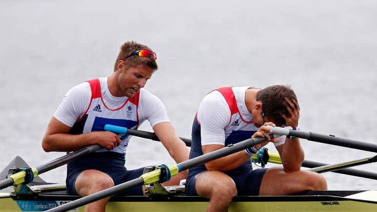 Team GB's Bill Lucas and Sam Townsend react after Double Sculls final