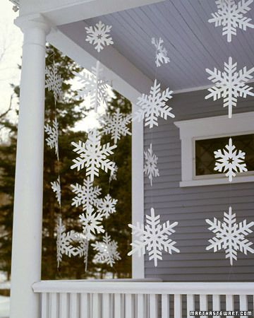 Frosty Banners  Although these oversize snowflake streamers look delicate, they're made from a sturdy material that allows them to withstand wet weather.