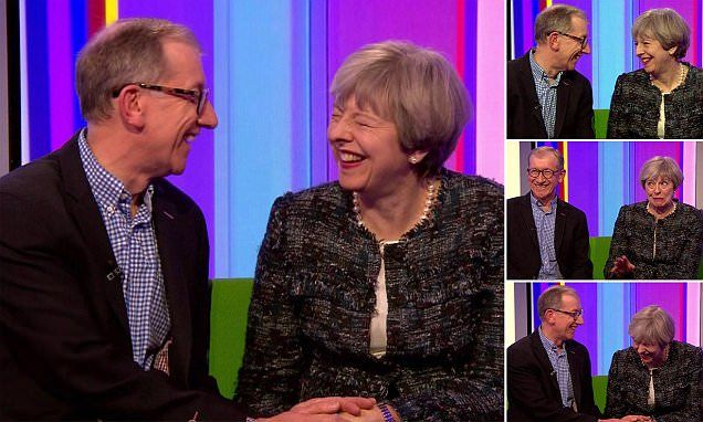 May facing the Nation on the 'ONE SHOW' that hard hitting Political forum  QUENTIN LETTS watches Phil and Theresa on The One Show