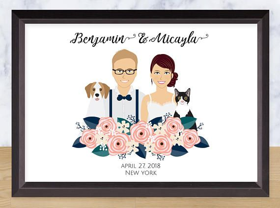 Illustrated Couple Portrait Custom Drawing Personalized - save the forest Illustration