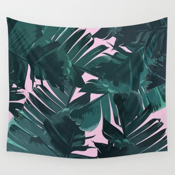 Green Tapestry, Banana Leaf Tapestry, Tropical Wall Hanging, Tropical Tapestry, Pink Tapestry, Tropic Plant Tapestry, Tropical Glam Tapestry by OlaHolaHolaBaby on Etsy