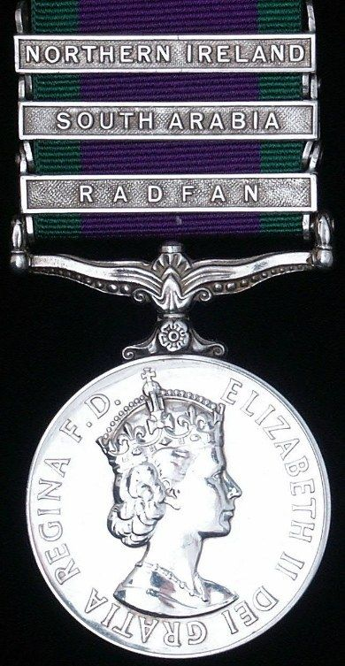 British General Service Medal with Northern Ireland, South Arabia and Radfan clasps. cir. 1962
