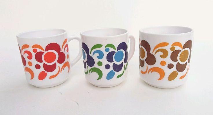 LOT de 3 Tasses MUG Lotus Mobil ARCOPAL design 70 Fleurs POP | eBay