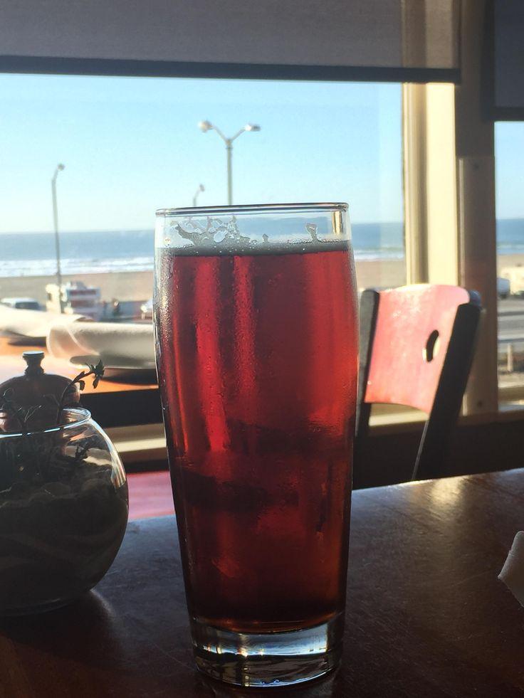 Sitting on the beach in San Francisco enjoying Riptide Red