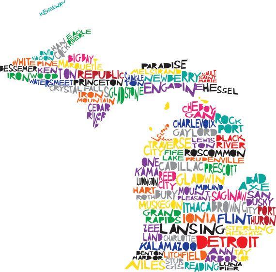 MI  <3: City Maps, Lakes States, Mi Cities, Cities Maps, Illustrations Prints, Michigan Maps, Michigan Cities, Digital Illustrations, Michigan Places