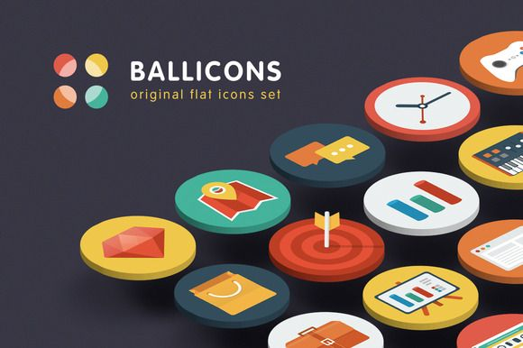 Check out Ballicons — original flat icons set by voodoosuperman on Creative Market