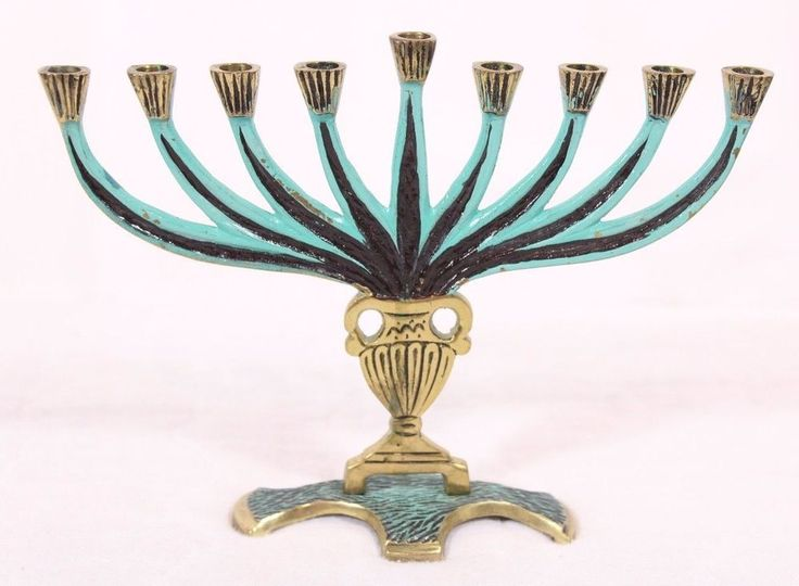 Brass Bronzed Hanukkah Menorah Jewish Candle Holder Painted Accents