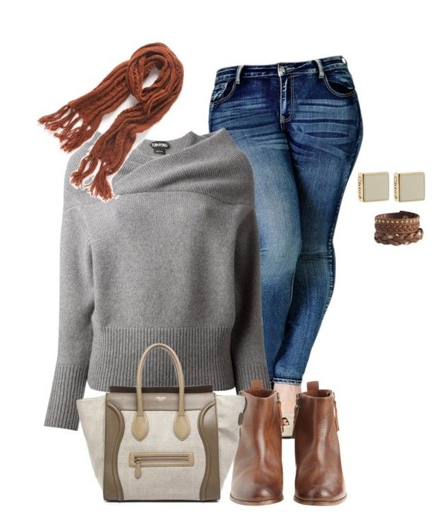 """""""fall/winter curvy girl chic"""" by kristie-payne ❤ liked on Polyvore featuring City Chic, Tom Ford, Hoss Intropia, CÉLINE, Pieces and David Jones"""