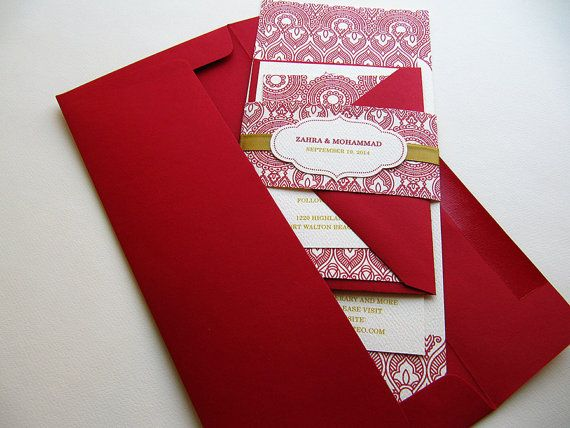 Indian Wedding Invitation, Henna Inspired Design Indian Red and Gold with Enclosures – SAMPLE