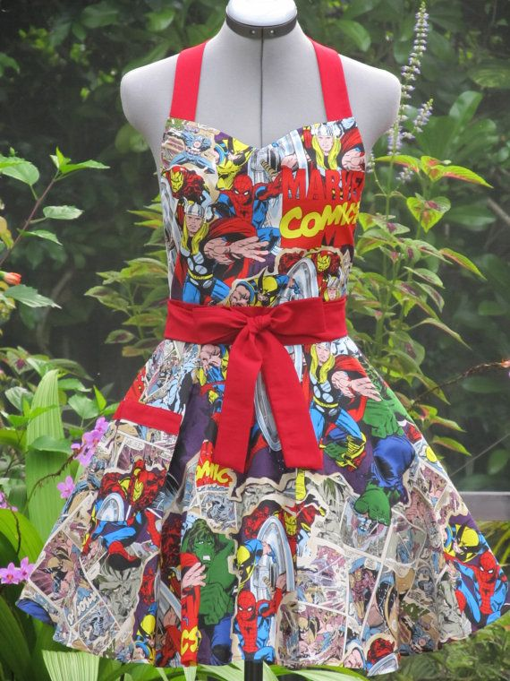 Marvel Comic Action Heros Apron-Vintage- Full of Twirl Flounce-Very Limited Edition- Ready to ship. $37.00, via Etsy.