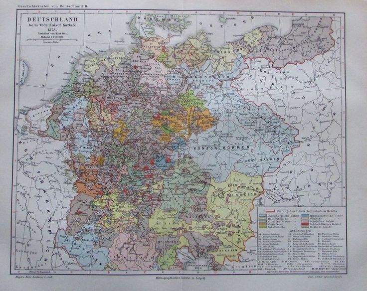 DEUTSCHLAND BEIM TODE KAISER KARL IV 1894 historische Landkarte Lithographie map