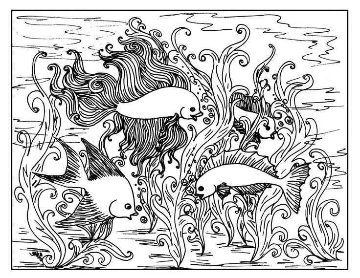 free coloring page coloring for adult 3 adult coloring of fish swimming in a beautiful aquarium. Black Bedroom Furniture Sets. Home Design Ideas