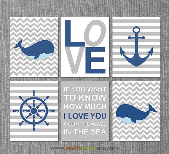 Navy and grey Nautical baby boy art print nursery by SednaPrints