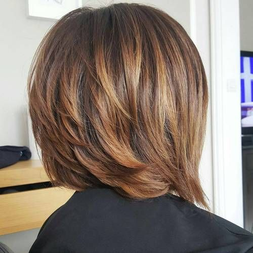 "#8: Layered Bob With Subtle Caramel Highlights   The best way to enhance angled layers and achieve bronde hair is with soft caramel-colored highlights. Have you ever contoured your face? Well, now you can contour your hair too. Whoever said ""blondes have more fun,"" didn't take brondes into account. This is a fun twist on the timeless bob style."