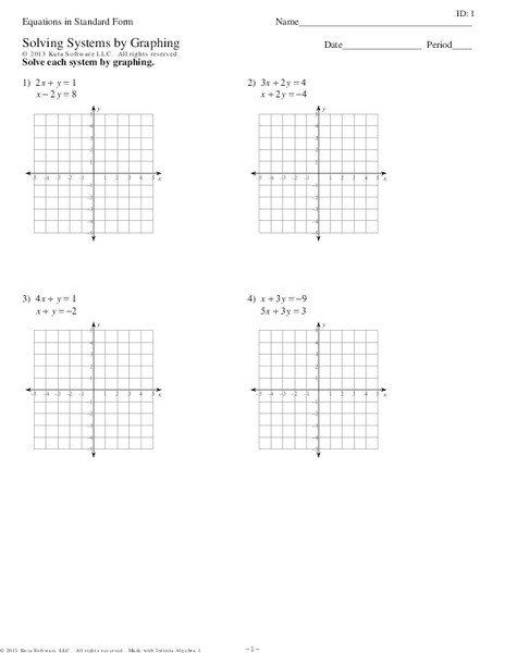 Systems Of Equations Graphing Worksheet Equations In