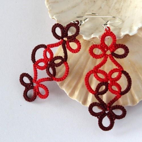 Frivolite earrings - modern lace in nice red colour