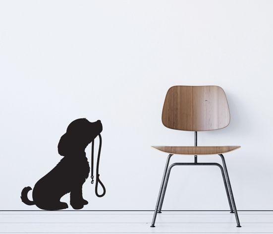 VÄGGDEKOR Hund med koppel
